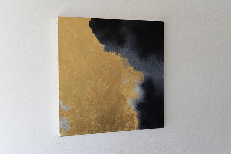 Hic Sunt Dracones ll, pastel & gold leaf painting, abstract landscape, coastline - Painting by KC PAILLARD