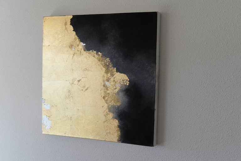 Hic Sunt Dracones ll, pastel & gold leaf painting, abstract landscape, coastline - Abstract Painting by KC PAILLARD