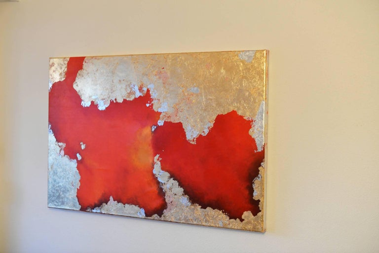 Hic Sunt Leones - Gold Abstract Painting by KC PAILLARD