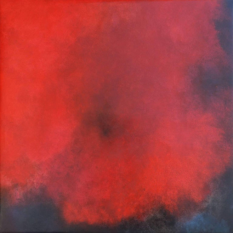 KC PAILLARD Abstract Painting - Karkade, Square Abstract Strong Red Colored Pastel on canvas