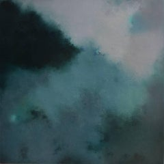 Verdigris, Square Abstract Green Softcolored Pastel on canvas