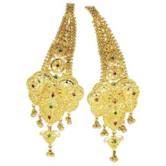 KDM Ornate/Detailed 22 Karat India Royal Wedding Drop Earrings