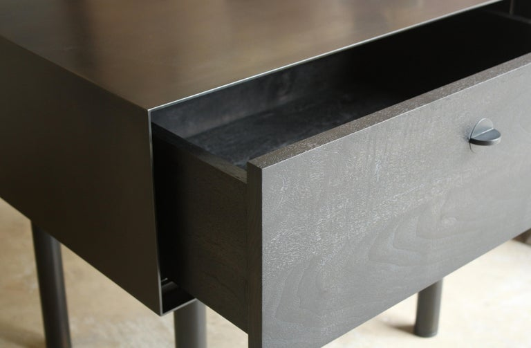 Blackened Kedzie A Customizable Handmade Metal Side Cabinet or Nightstand by Laylo Studio For Sale