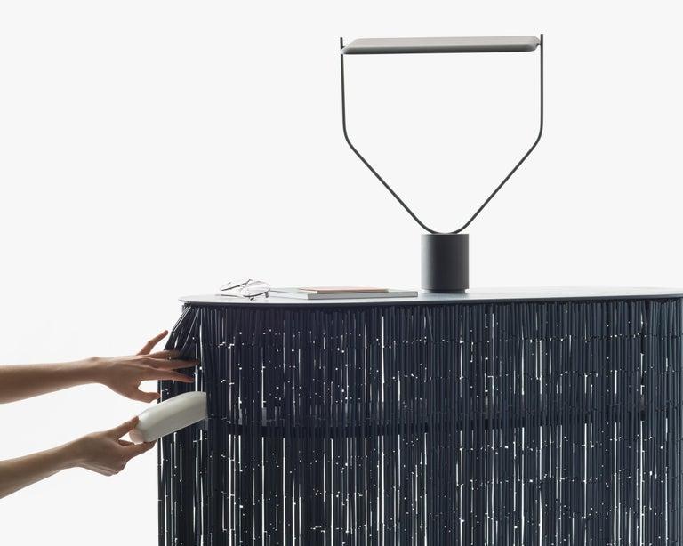 Contemporary Keefer Credenza, Calen Knauf, Black Bamboo Beaded Console Table Oak - 40
