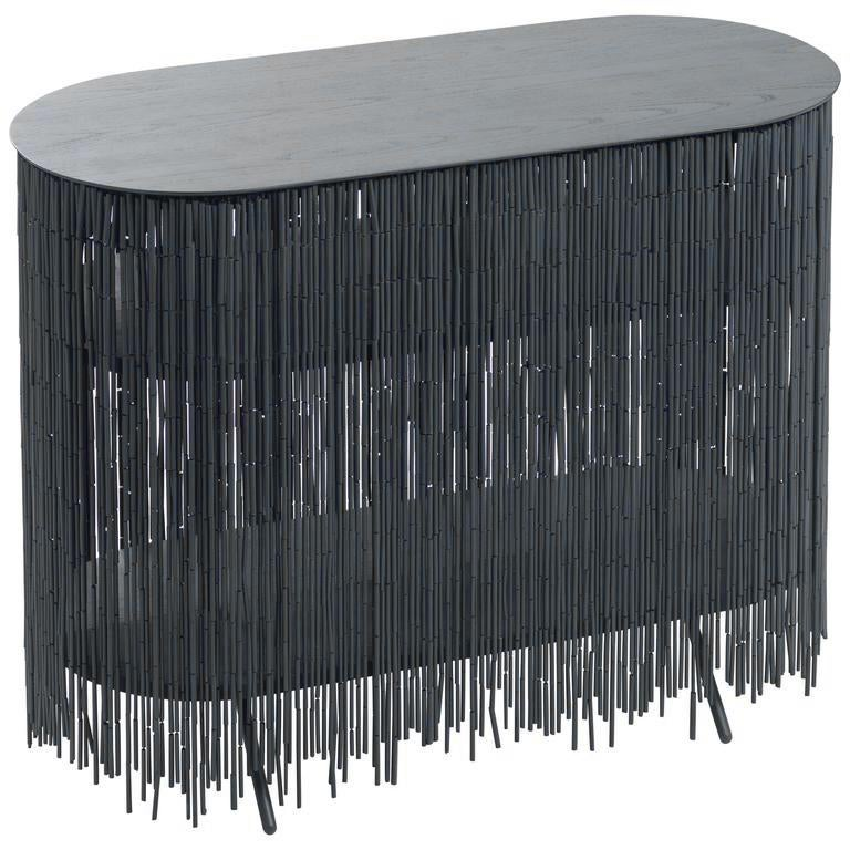 """Keefer Credenza, Calen Knauf, Black Bamboo Beaded Console Table Oak - 40"""" For Sale"""