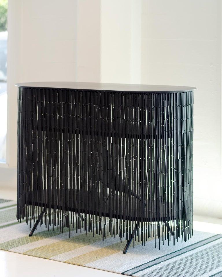 Modern Keefer Credenza, Calen Knauf, Black Bamboo Beaded Console Table Oak - 48