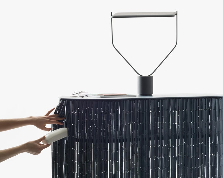 Contemporary Keefer Credenza, Calen Knauf, Black Bamboo Beaded Console Table Oak - 48