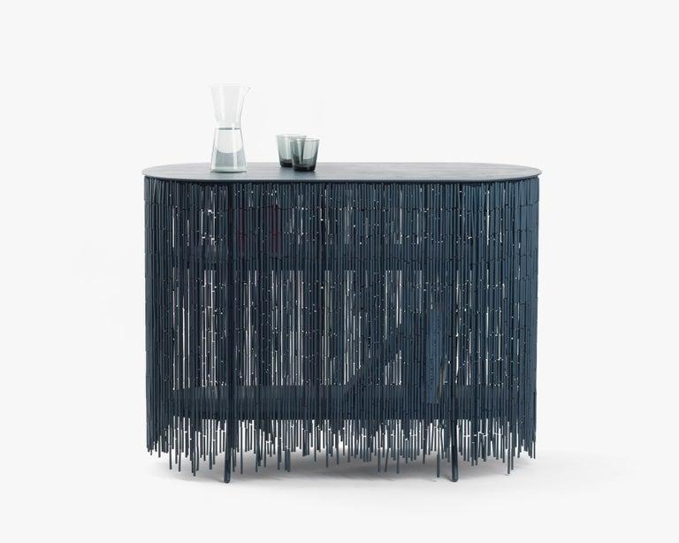 Steel Keefer Credenza, Calen Knauf, Black Bamboo Beaded Console Table Oak - 48