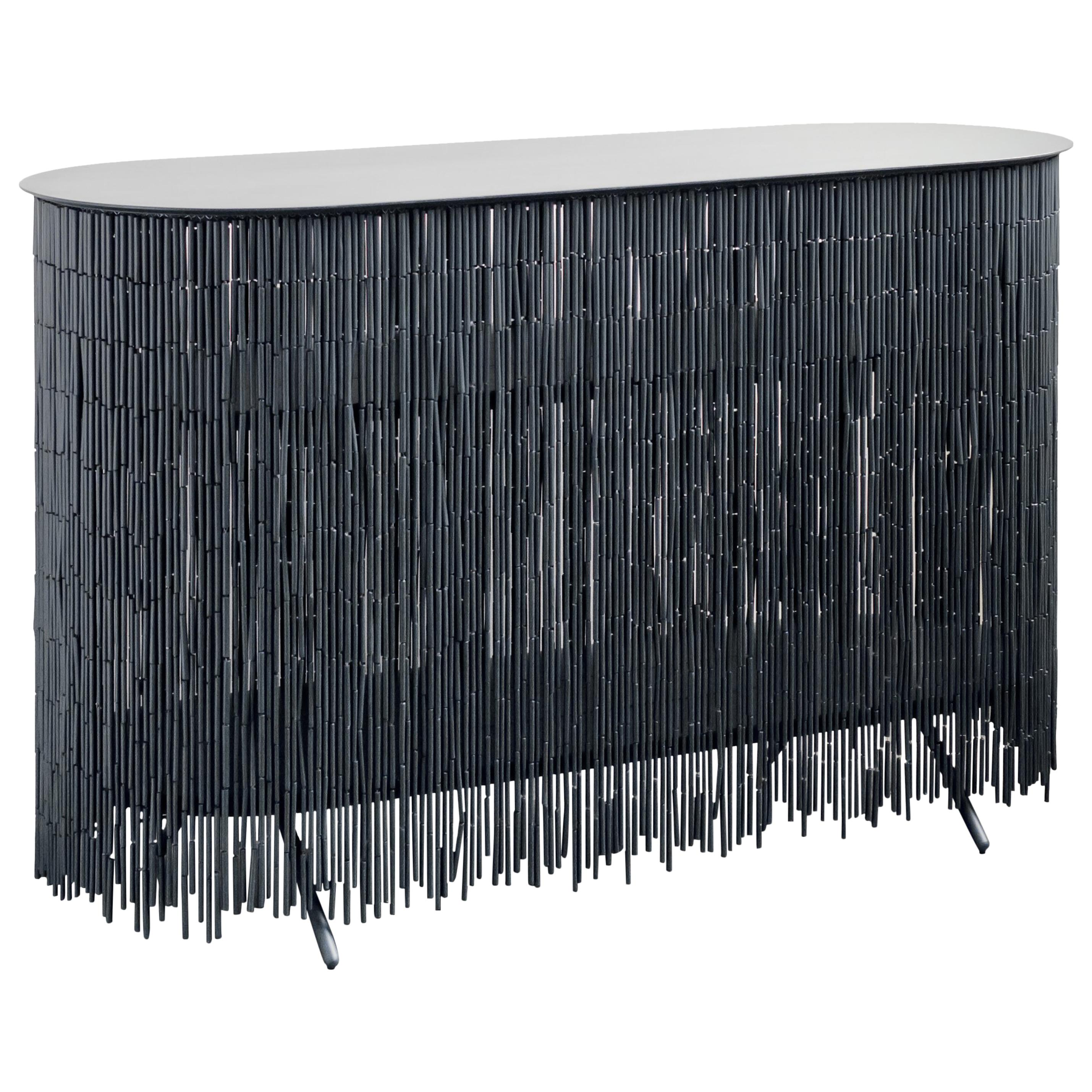 Keefer Credenza, Calen Knauf, Black Bamboo Beaded Console Table Oak - 48""