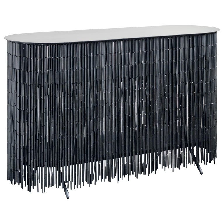"""Keefer Credenza, Calen Knauf, Black Bamboo Beaded Console Table Oak - 48"""" For Sale"""