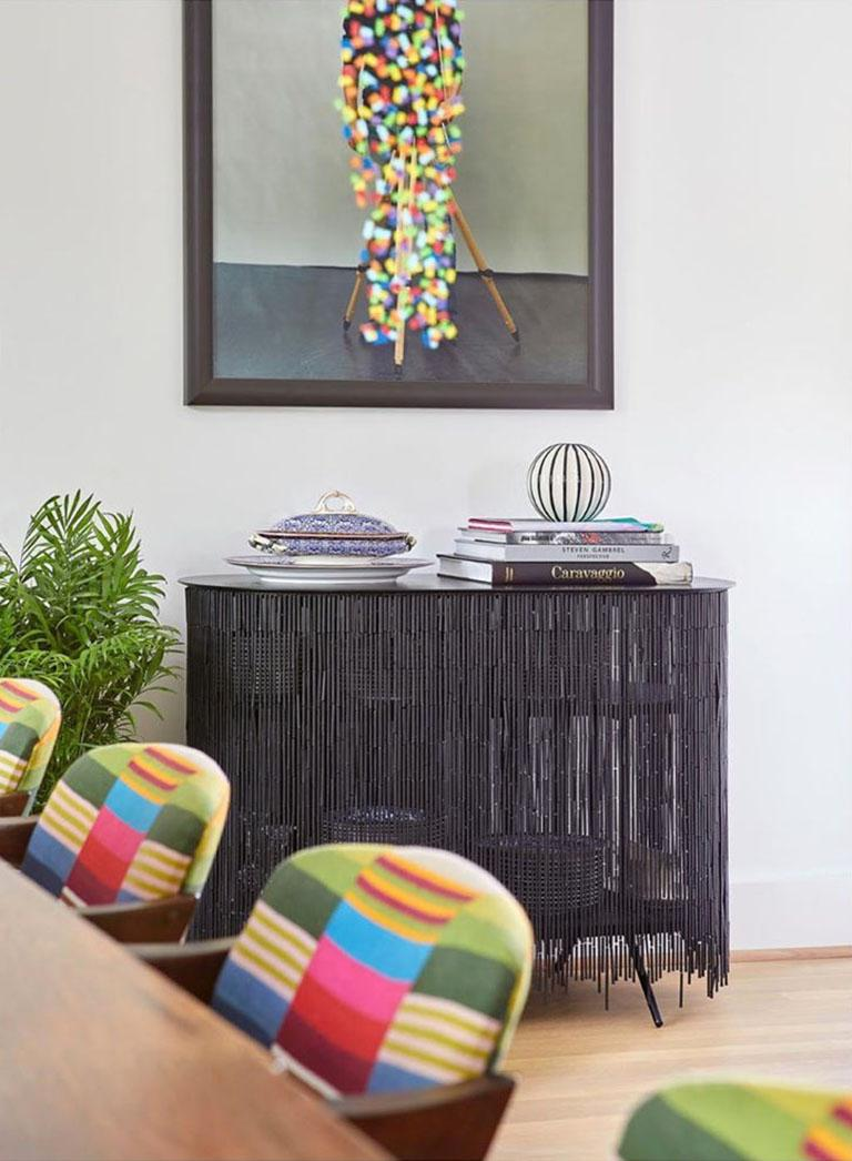 Modern Keefer Credenza, Calen Knauf, Natural Bamboo Beaded Console Table Oak - 40