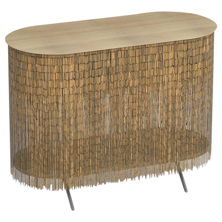 """Keefer Credenza, Calen Knauf, Natural Bamboo Beaded Console Table Oak - 40"""" For Sale"""