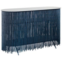 Keefer Credenza, Calen Knauf, Petrol Blue Bamboo Beaded Console Table Oak - 48""