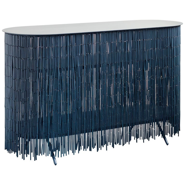 "Keefer Credenza, Calen Knauf, Petrol Blue Bamboo Beaded Console Table Oak - 48"" For Sale"