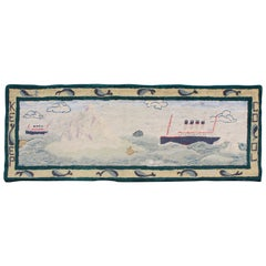 """""""Keep Cool"""" American Hooked Pictorial Rug with Two Ships Sailing in the Ocean"""