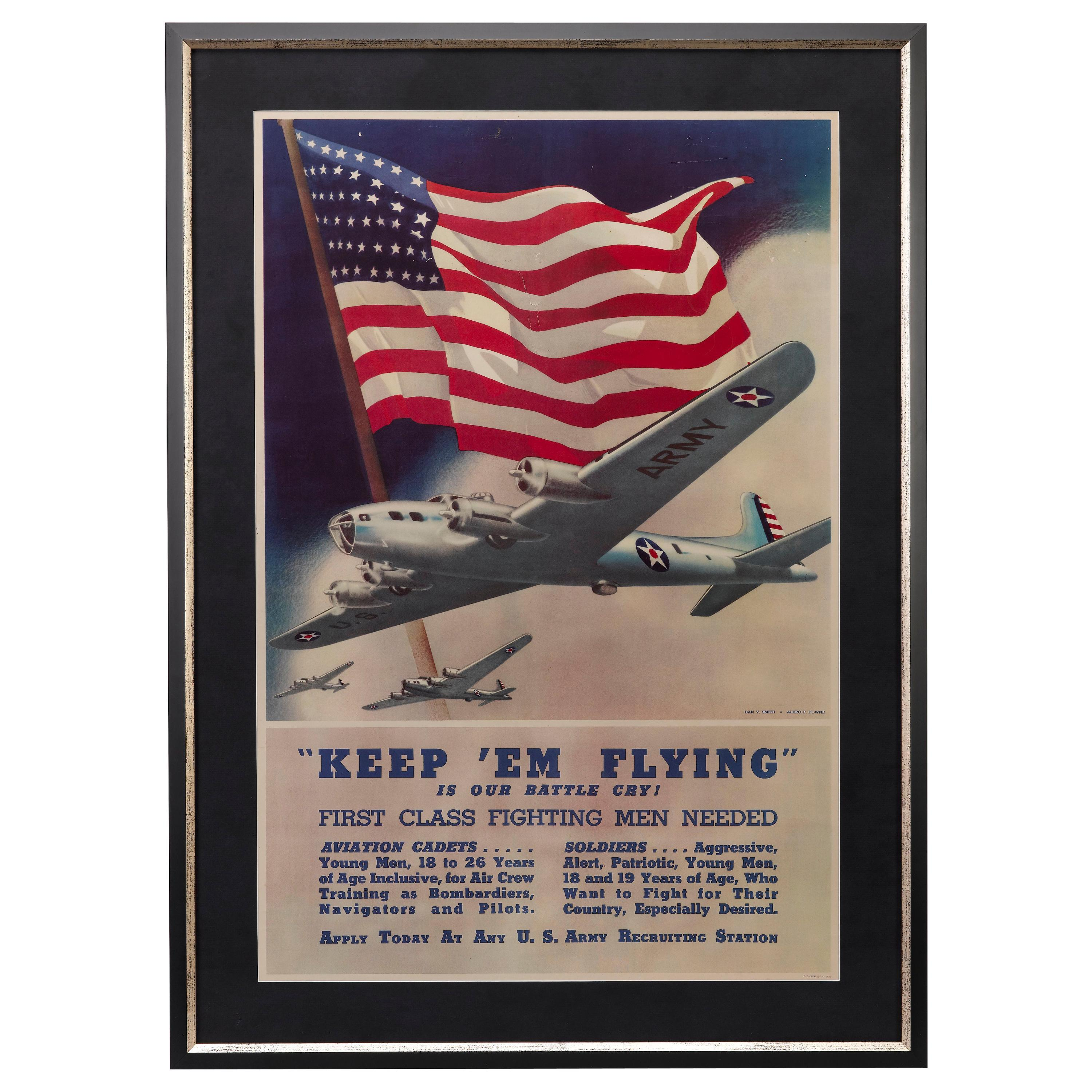 """""""Keep 'Em Flying Is Our Battle Cry"""" Vintage WWII Recruitment Poster, 1942"""