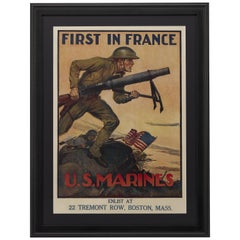 """First in France. U.S. Marines"" Vintage WWI Recruitment Poster, circa 1917-18"