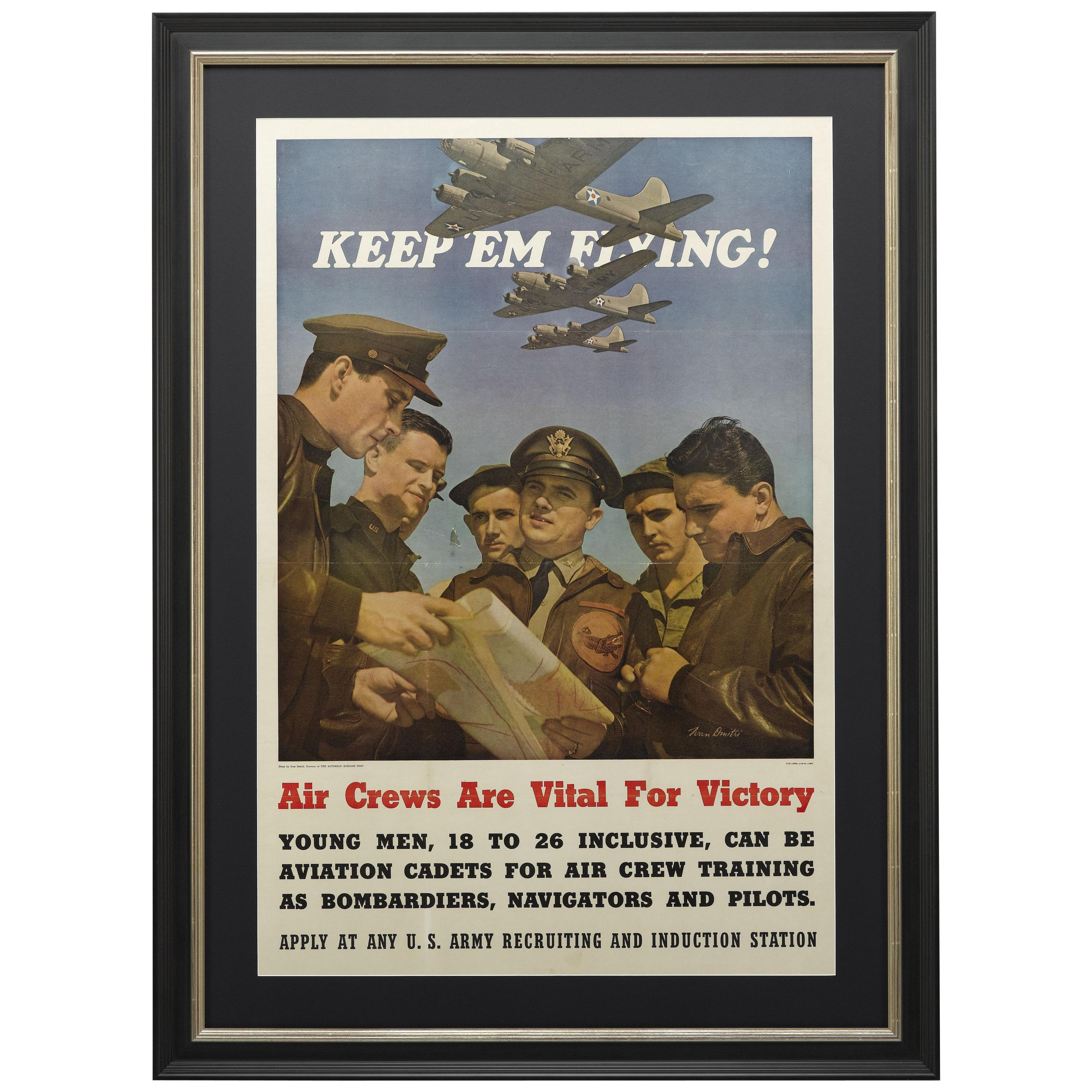 """""""Keep 'Em Flying"""" Vintage WWII U.S. Army Air Corps Recruitment Poster, 1942"""