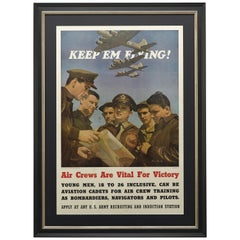 """Keep 'Em Flying"" Vintage WWII U.S. Army Air Corps Recruitment Poster, 1942"