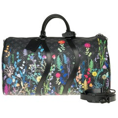 Keepall strap Limited Edition 50 Foliage Black with Floral Colors Monogram