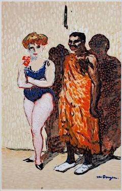 """""""Les Artistes du Cirque"""" Original Watercolor & Gouache signed by Kees Van Dongen"""