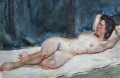 Nu Allonge -19th Century Watercolor, Nude Figure in Interior by Kees van Dongen