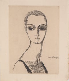 Girl with Swan's Neck - Original Etching - 1925