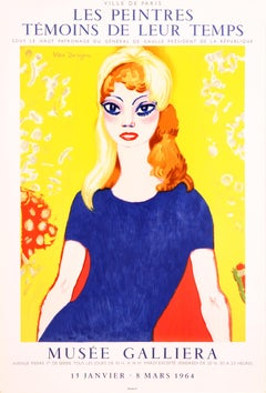 Musee Galliera Brigitte Bardot by Kees Van Dongen - colorful lithographic poster
