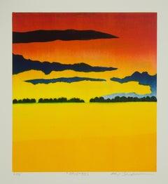 Keiji Shinohara, Opus 30, impressionist landscape monoprint, 2016