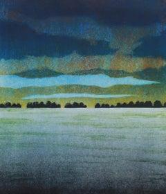 Keiji Shinohara, Opus 31, impressionist landscape monoprint, 2016