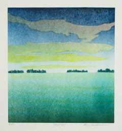 Keiji Shinohara, Opus 33, impressionist landscape monoprint, 2016