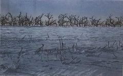Sommesso II, blue and gray Ukiyo-e landscape woodblock print, 2016