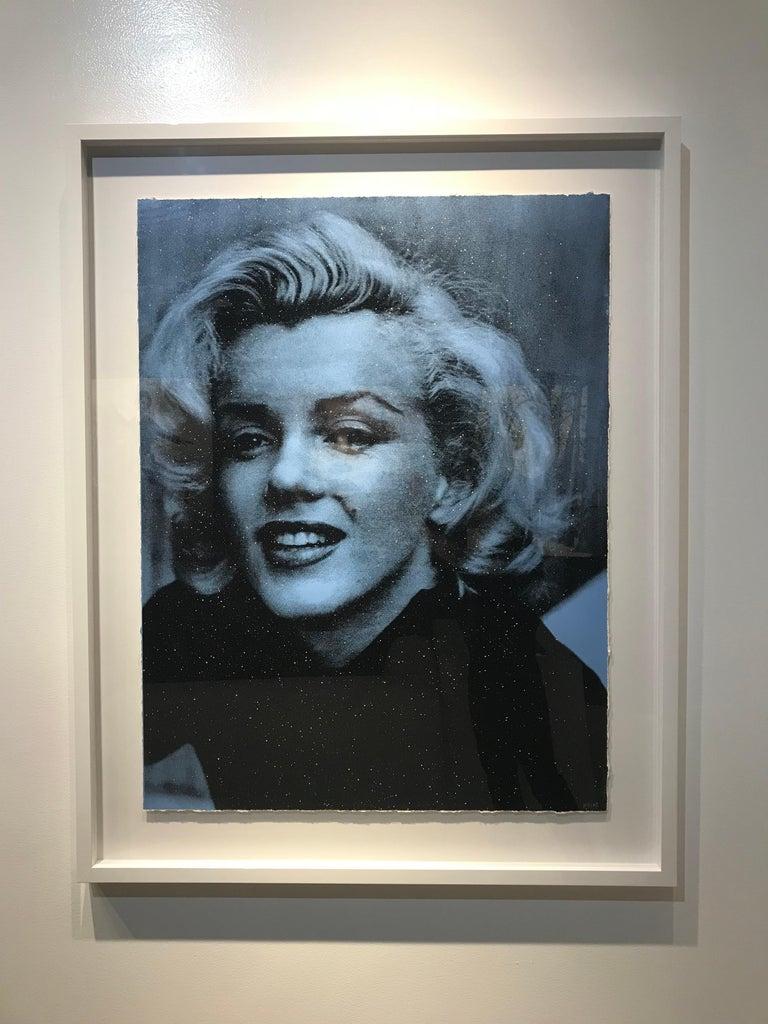Keiko Noah Black and White Photograph - Marilyn Smile (Bleu, Diamond Dust)