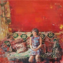 The Montague - Woman on Couch w/ Multi Colored, Patterned Tapestries, Red Walls