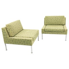 Keilhauer Mid Century Chrome Upholstered Lounge Chairs, Matching Pair
