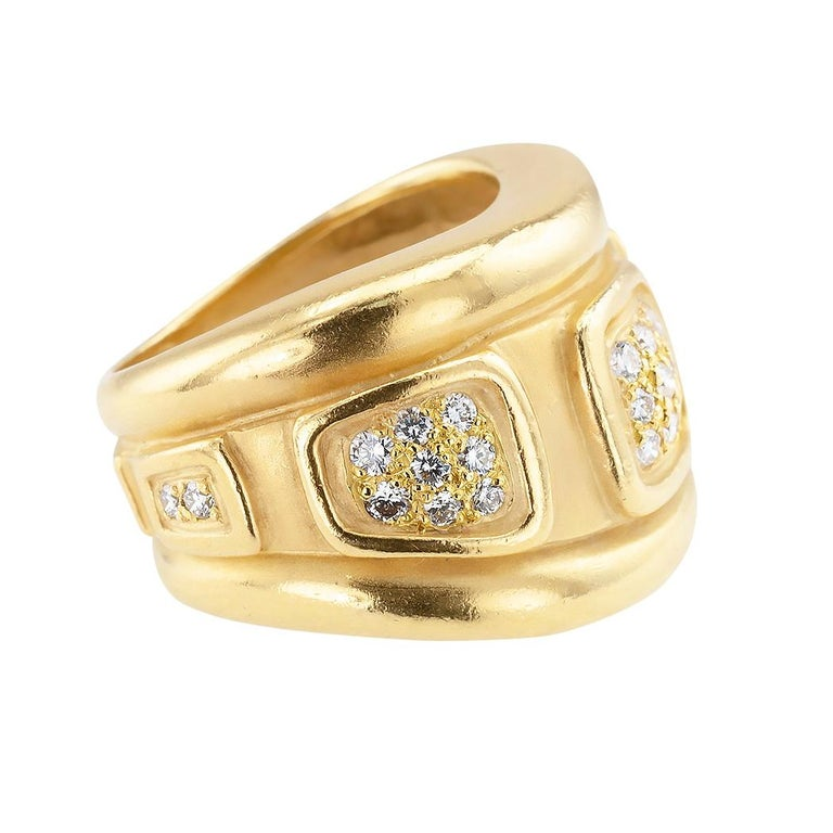 Contemporary Keiselstein Cord Diamond Yellow Gold Wide Ring Band