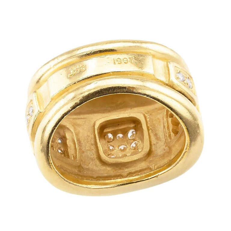 Round Cut Keiselstein Cord Diamond Yellow Gold Wide Ring Band