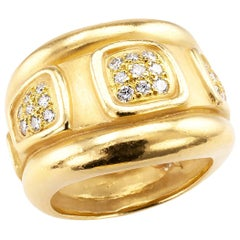 Keiselstein Cord Diamond Yellow Gold Wide Ring Band
