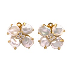 Keishi Pearl Blossom Flower Clip-on Vermeil Earrings