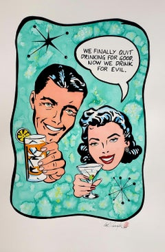 Drinks Ink on Paper Contemporary Pop Art