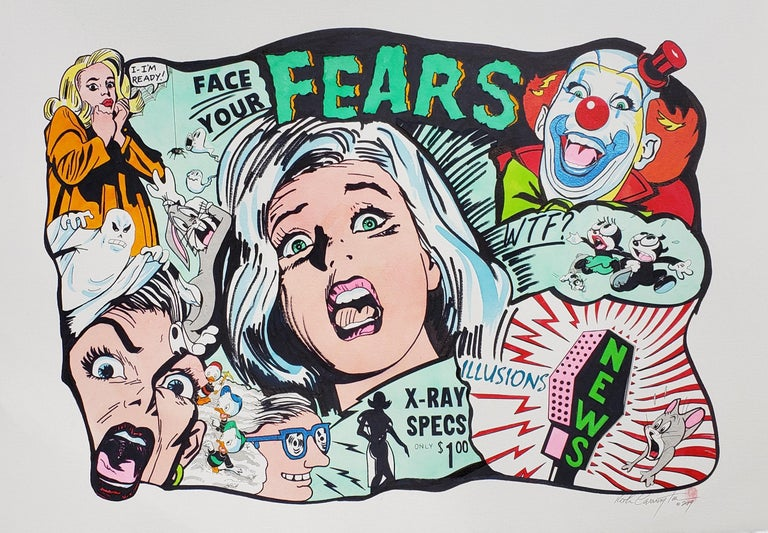 Face Your Fears Ink on Paper - Painting by Keith Carrington