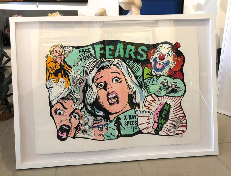 Face Your Fears,  ink on archival paper 29.5x40.5 framed 36x50x2 Keith Carrington's experiences have led him to express his talents through the fluid & exacting mediums of watercolor and ink.  He has honed his skills, clarified his vision,