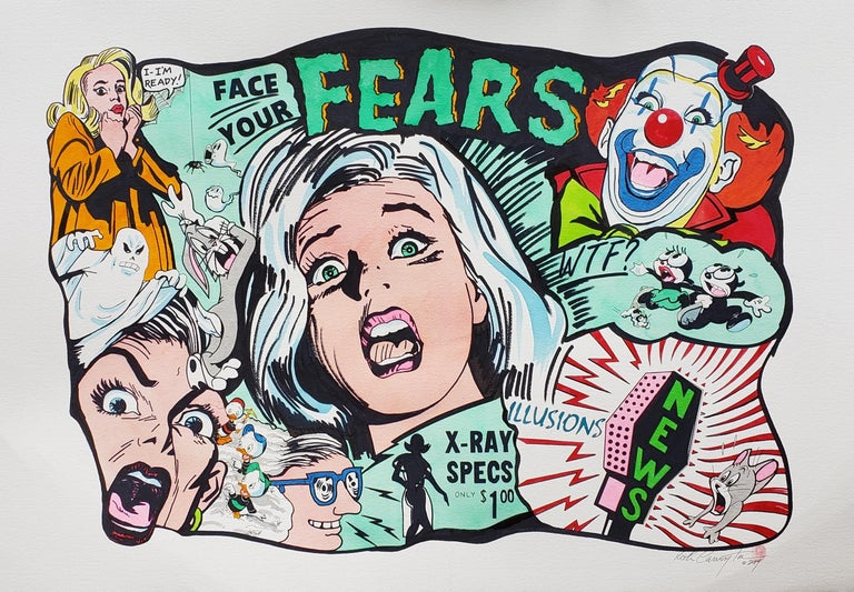Keith Carrington Figurative Painting - Face Your Fears Ink on Paper
