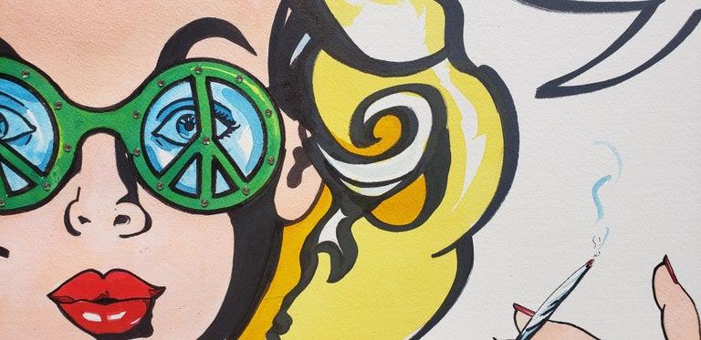 Flora 'n Fauna Ink On Paper Pop Art Woman Smoking Pot - Painting by Keith Carrington