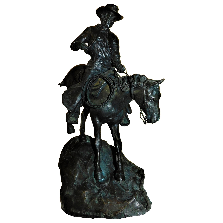 Original Bronze Cowboy Stallion Horse Sculpture Signed Western Artwork Figurine