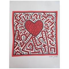 Keith Haring Heart in Mixed-Media, 1983