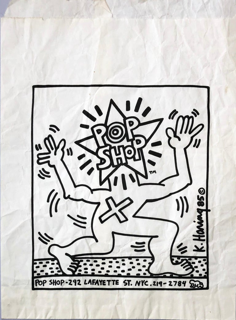 Original Keith Haring Pop Shop bag (Haring 1980s Pop Shop)  - Pop Art Mixed Media Art by Keith Haring