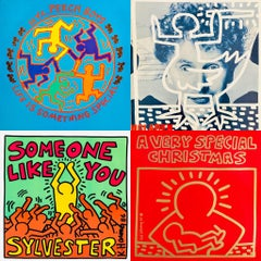 Original Keith Haring Record Art: set of 4  (1980s Keith Haring album cover art)