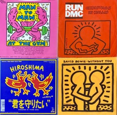 Original Keith Haring Record Art: set of 4  (1980s Keith Haring album cover art)