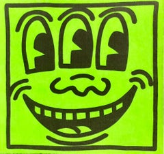 Original Keith Haring Three Eyed Smiling Face sticker (Haring early 80s)